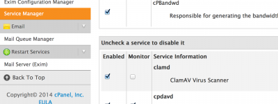 Service-Manager-CLAMAV-cPanel-Disable